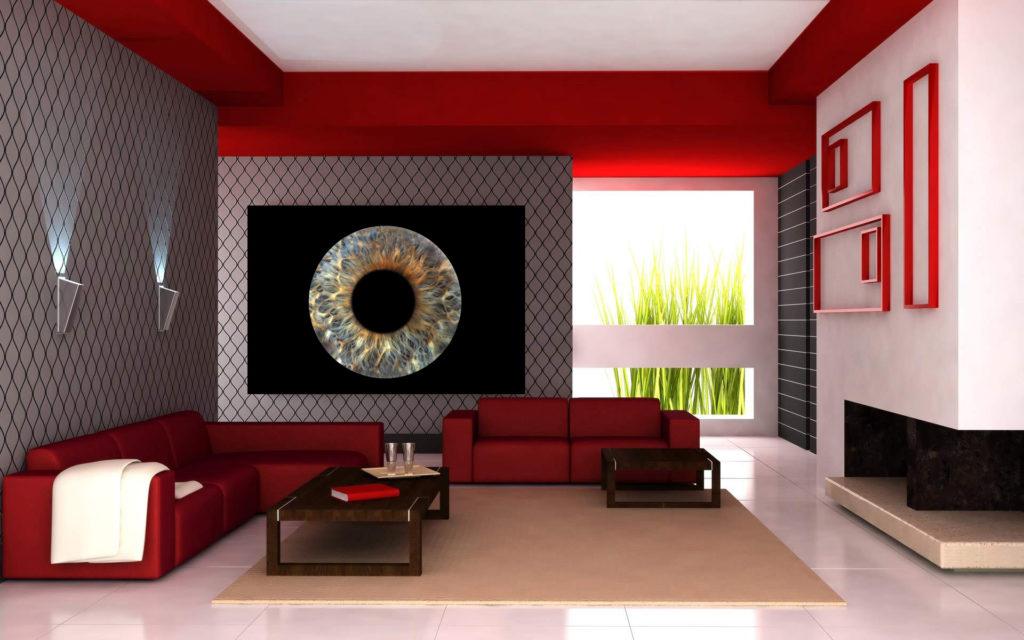 Wohnzimmer mit Irisfoto
